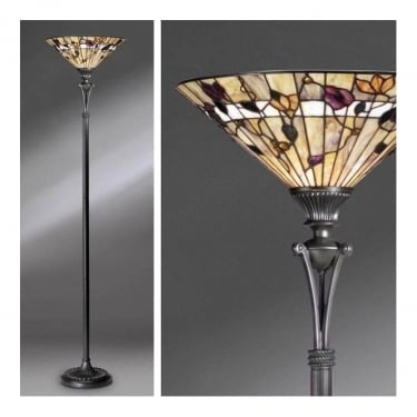Interiors 1900 Bernwood Tiffany Style Glass 1Lt Indoor Floor Light with Dark Bronze Trim (63947)
