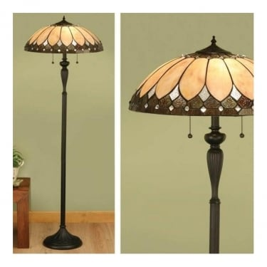 Interiors 1900 Brooklyn Tiffany Style Glass 2Lt Indoor Floor Light with Dark Bronze Trim (63972)