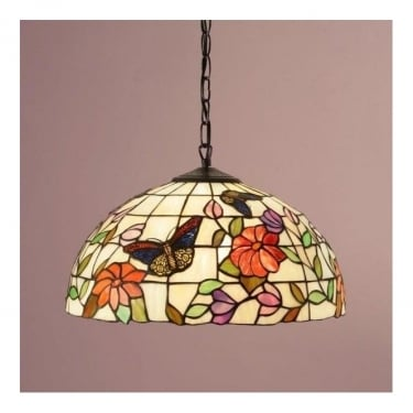 Interiors 1900 Butterfly 1Lt Tiffany Art Glass & Dark Bronze 60W Medium Pendant Light (63994)