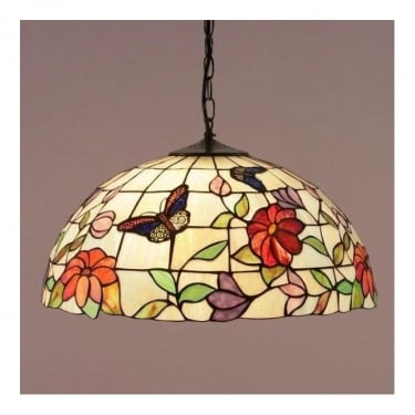 Interiors 1900 Butterfly 3Lt Tiffany Art Glass & Dark Bronze 60W Large Pendant Light (63995)