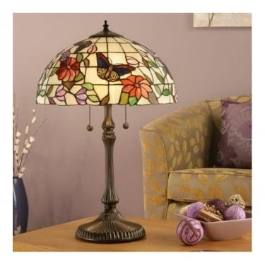 Interiors 1900 Butterfly Tiffany Art Glass 2Lt Indoor Table Lamp with Dark Bronze Trim (63997)