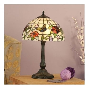 Interiors 1900 Butterfly Tiffany Art Glass 2Lt Indoor Table Lamp with Dark Bronze Trim (63998)