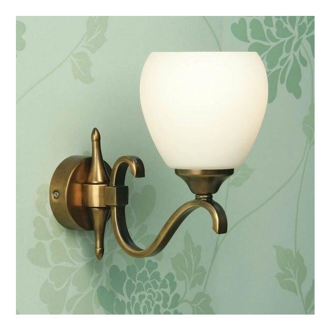 Interiors 1900 Classic Columbia Antique Brass Single Wall Light With Opal Matt Glass Shades at ...