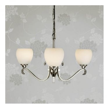 Interiors 1900 Classic Columbia Polished Nickel 3 Light Chandelier With Opal Matt Glass Shades