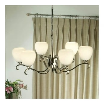 Interiors 1900 Classic Columbia Polished Nickel 6 Light Chandelier With Opal Matt Glass Shades