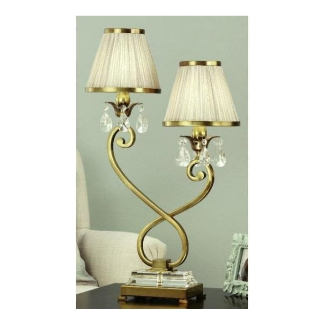 brass double table lamp with beige pleated shade at leader stores. Black Bedroom Furniture Sets. Home Design Ideas