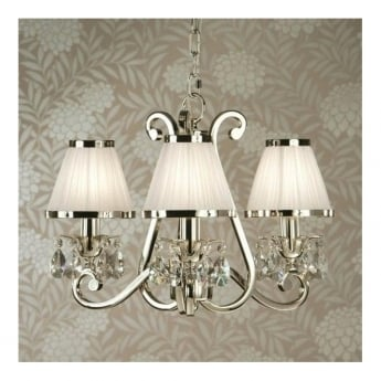 Interiors 1900 Classic Oksana Polished Nickel 3 Light Chandelier With White Pleated Shades