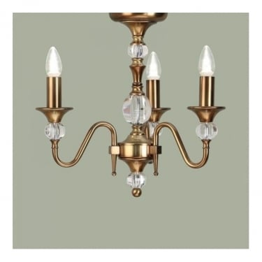 Interiors 1900 Classic Polina Antique Brass 3 Light Chandelier