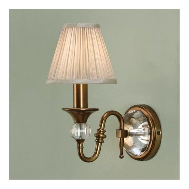 Interiors 1900 Classic Polina Antique Brass Single Wall Light With Beige Pleated Shades at ...