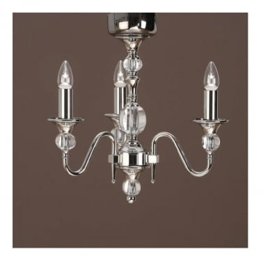 Interiors 1900 Classic Polina Polished Nickel 3 Light Chandelier