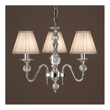 Interiors 1900 Classic Polina Polished Nickel 3 Light Chandelier With Beige Pleated Shades