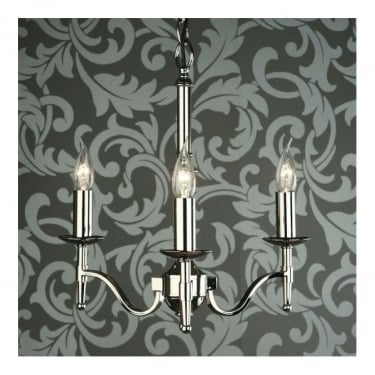 Interiors 1900 Classic Stanford Polished Nickel 3 Light Chandelier