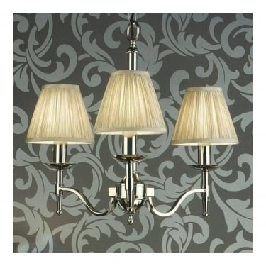Interiors 1900 Classic Stanford Polished Nickel 3 Light Chandelier With Beige Pleated Shades