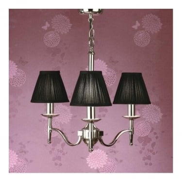 Interiors 1900 Classic Stanford Polished Nickel 3 Light Chandelier With Black Pleated Shades