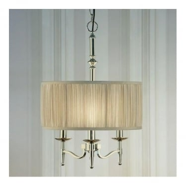 Interiors 1900 Classic Stanford Polished Nickel 3 Light Pendant With Beige Pleated Shade