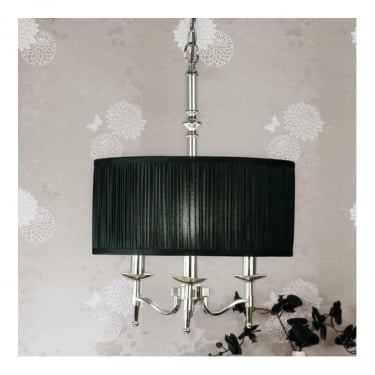 Interiors 1900 Classic Stanford Polished Nickel 3 Light Pendant With Black Pleated Shades