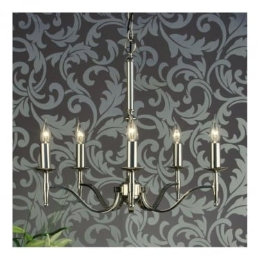 Interiors 1900 Classic Stanford Polished Nickel 5 Light Chandelier