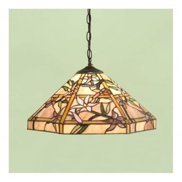 Interiors 1900 Clematis Tiffany Glass Medium Pendant Light