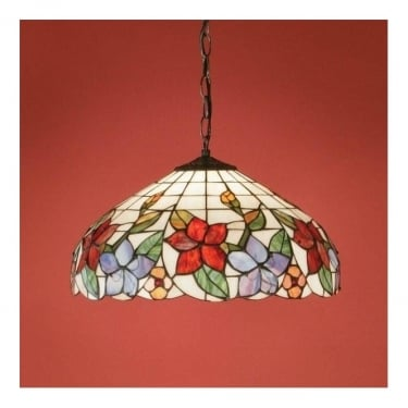 Interiors 1900 Country Border 1Lt Tiffany Art Glass & Dark Bronze 60W Pendant Light (64030)