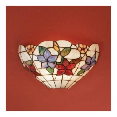Interiors 1900 Country Border 1Lt Tiffany Art Glass & Matt Black 40W Wall Light (64032)