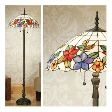 Interiors 1900 Country Border 2Lt Tiffany Art Glass & Dark Bronze 60W Floor Light (64028)