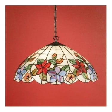 Interiors 1900 Country Border 3Lt Tiffany Art Glass & Dark Bronze 60W Large Pendant Light (64029)
