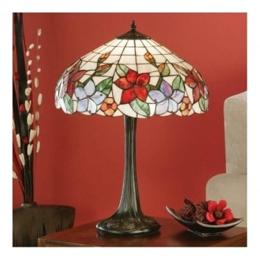 Interiors 1900 Country Border Tiffany Art Glass 2Lt Indoor Table Lamp with Dark Bronze Trim (64031)