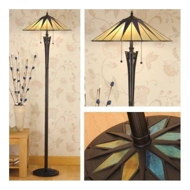 Interiors 1900 Dark Star 2Lt Tiffany Style Glass & Satin Black With Iridised Glass Inserts 60W Floor Light (64041)