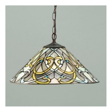 Interiors 1900 Dauphine Tiffany Glass Medium Pendant Light