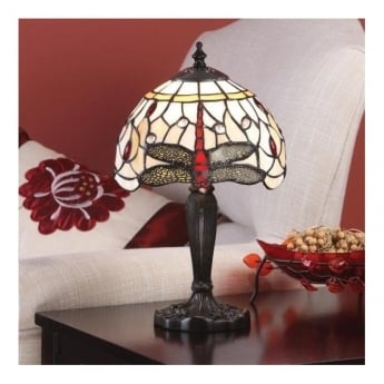 Interiors 1900 Dragonfly Beige 1Lt Tiffany Style Glass & Dark Bronze 40W Table Light (64087)
