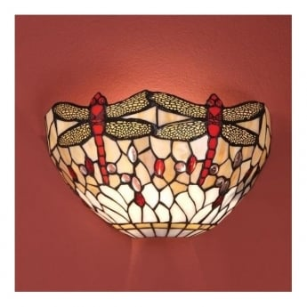 Interiors 1900 Dragonfly Beige 1Lt Tiffany Style Glass & Matt Black 40W Wall Light (64101)