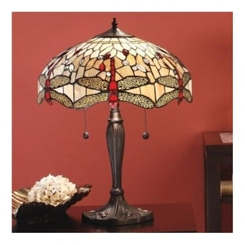 Interiors 1900 Dragonfly Beige 2Lt Tiffany Style Glass & Dark Bronze 60W Medium Table Light (64085)