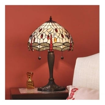 Interiors 1900 Dragonfly Beige 2Lt Tiffany Style Glass & Dark Bronze 60W Small Table Light (64086)