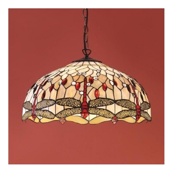 Interiors 1900 Dragonfly Beige 3Lt Tiffany Style Glass & Dark Bronze 60W Large Pendant Light (64079)