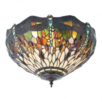 Interiors 1900 dragonfly green tiffany style glass 1lt indoor table interiors 1900 dragonfly green tiffany premium art glass 2lt indoor flush ceiling light 70707 mozeypictures Images