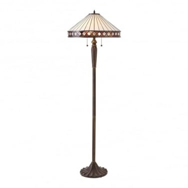 Interiors 1900 Fargo Tiffany Style Glass 2Lt Indoor Floor Light with Dark Bronze Trim (70936)