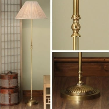 Interiors 1900 Fitzroy 1Lt Solid Mellow Brass & Beige Organza Fabric 60W Floor Light (63811)