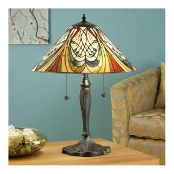 Interiors 1900 Hector 2Lt Tiffany Style Glass & Dark Bronze 60W Table Light (64163)