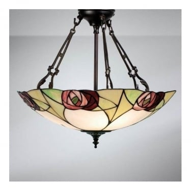 Interiors 1900 Ingram Tiffany Glass Large Inverted Pendant Light