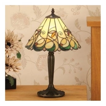 Interiors 1900 Jamelia 1Lt Tiffany Style Glass & Dark Bronze 60W Table Light (64195)