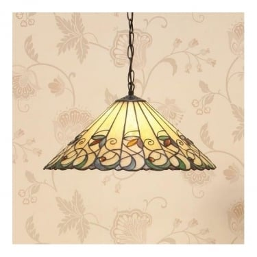 Interiors 1900 Jamelia Tiffany Glass Medium Pendant Light