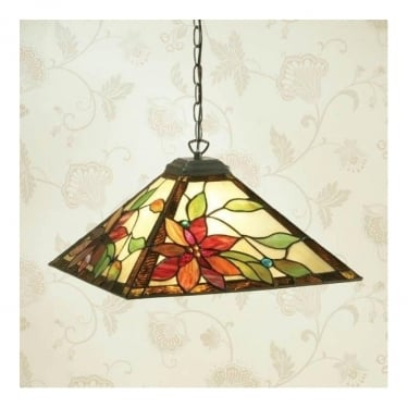 Interiors 1900 Lelani 1Lt Tiffany Style Glass & Dark Bronze 60W Pendant Light (64228)