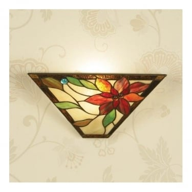 Interiors 1900 Lelani 1Lt Tiffany Style Glass & Matt Black 40W Wall Light (64231)