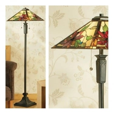 Interiors 1900 Lelani 2Lt Tiffany Style Glass & Dark Bronze 60W Floor Light (64227)