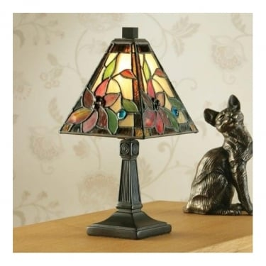 Interiors 1900 Lelani Tiffany Style Glass 1Lt Indoor Table Lamp with Dark Bronze Trim (64229)