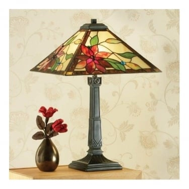 Interiors 1900 Lelani Tiffany Style Glass 2Lt Indoor Table Lamp with Dark Bronze Trim (64230)