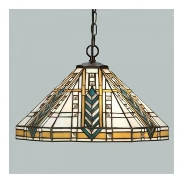Interiors 1900 Lloyd Tiffany Glass Pendant Light