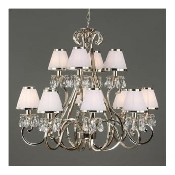 Interiors 1900 Oksana 12Lt Polished Nickel Plate & Lead Crystal Beads 40W Multi-Arm Pendant Light with White Shades (63517)