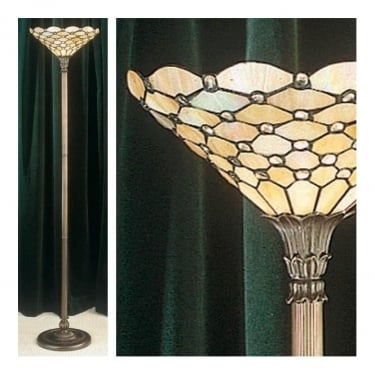 Interiors 1900 Pearl Tiffany Style Glass 1Lt Indoor Floor Light with Dark Bronze Trim (64299)