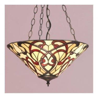 Interiors 1900 Ruban Tiffany Glass Inverted Pendant Light